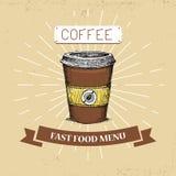 Διανυσματική απεικόνιση γρήγορου φαγητού καφέ στο εκλεκτής ποιότητας ύφος, που παρουσιάζει ποτό με την επιγραφή, Στοκ Εικόνες