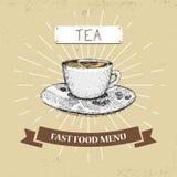 Διανυσματική απεικόνιση γρήγορου φαγητού καφέ στο εκλεκτής ποιότητας ύφος, που παρουσιάζει γεύμα με την επιγραφή, Στοκ Φωτογραφίες