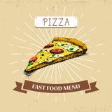 Διανυσματική απεικόνιση γρήγορου φαγητού κομματιού πιτσών στο εκλεκτής ποιότητας ύφος, που παρουσιάζει γεύμα με την επιγραφή, Στοκ φωτογραφία με δικαίωμα ελεύθερης χρήσης