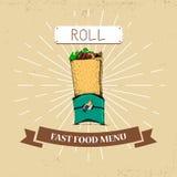 Διανυσματική απεικόνιση γρήγορου φαγητού ρόλων στο εκλεκτής ποιότητας ύφος, που παρουσιάζει γεύμα με την επιγραφή, Στοκ φωτογραφία με δικαίωμα ελεύθερης χρήσης