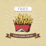 Διανυσματική απεικόνιση γρήγορου φαγητού τηγανιτών πατατών στο εκλεκτής ποιότητας ύφος, που παρουσιάζει γεύματα με την επιγραφή, Στοκ φωτογραφία με δικαίωμα ελεύθερης χρήσης
