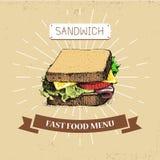 Διανυσματική απεικόνιση γρήγορου φαγητού Sandwitch στο εκλεκτής ποιότητας ύφος, που παρουσιάζει γεύμα με την επιγραφή, Στοκ Φωτογραφία