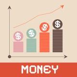Διανυσματική απεικόνιση γραφικών παραστάσεων χρημάτων Στοκ Φωτογραφία