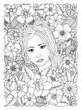 Διανυσματική απεικόνιση, γυναίκα που περιβάλλεται από τα λουλούδια Μαύρο λευκό Στοκ Φωτογραφίες