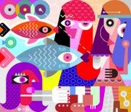 Διανυσματική απεικόνιση γυναικών και ψαριών απεικόνιση αποθεμάτων