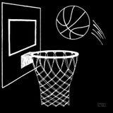 Διανυσματική απεικόνιση δράσης της καλαθοσφαίρισης που πηγαίνει σε μια στεφάνη Ράχη, στεφάνη, δαχτυλίδι, καθαρό, εξάρτηση Συρμένο απεικόνιση αποθεμάτων
