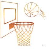 Διανυσματική απεικόνιση δράσης της καλαθοσφαίρισης που πηγαίνει σε μια στεφάνη Ράχη, στεφάνη, δαχτυλίδι, καθαρό, εξάρτηση Συρμένο διανυσματική απεικόνιση