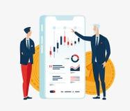 Διανυσματική απεικόνιση δύο χρηματοδοτών επιχειρηματιών μπροστά από τη συσκευή οθόνης με τις γραφικές παραστάσεις των οικονομικών απεικόνιση αποθεμάτων