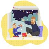 Διανυσματική απεικόνιση δώρων Χριστουγέννων πατέρων και γιων ανοικτή απεικόνιση αποθεμάτων