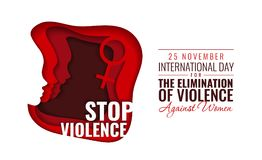 Διανυσματική απεικόνιση εγγράφου για τη διεθνή ημέρα για την αποβολή της βίας κατά των γυναικών στοκ εικόνα