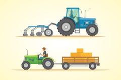 Διανυσματική απεικόνιση εικονιδίων αγροτικών τρακτέρ Βαριά γεωργικά μηχανήματα για την επιτόπια έρευνα απεικόνιση αποθεμάτων