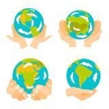 Διανυσματική απεικόνιση εικονιδίων γήινων διαθέσιμη χεριών σφαιρών Στοκ φωτογραφία με δικαίωμα ελεύθερης χρήσης