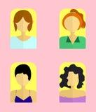 Διανυσματική απεικόνιση εικονιδίων γυναικών ` s Επίπεδα στοιχεία ύφους Στοκ Εικόνα