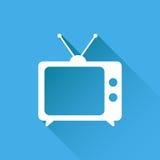Διανυσματική απεικόνιση εικονιδίων TV στο επίπεδο ύφος που απομονώνεται στο μπλε backg Στοκ Φωτογραφία