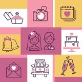 Διανυσματική απεικόνιση εμβλημάτων γαμήλιων εικονιδίων Εξαρτήματα για τον εορτασμό Νύφη και νεόνυμφος, κέικ, δαχτυλίδι αρραβώνων, στοκ εικόνες