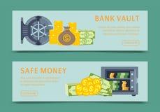 Διανυσματική απεικόνιση εμβλημάτων χρηματοκιβωτίων και υπόγειων θαλάμων τράπεζας, μεταλλική ασφαλής πόρτα σιδήρου Χρυσός, μετρητά απεικόνιση αποθεμάτων