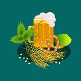 Διανυσματική απεικόνιση εμβλημάτων κινούμενων σχεδίων φεστιβάλ μπύρας Στοκ Εικόνα