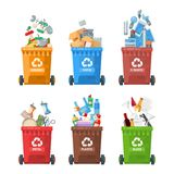 Διανυσματική απεικόνιση εμπορευματοκιβωτίων απορριμάτων στο σύγχρονο ύφος Δοχείο απορριμμάτων που τίθεται με τα σκουπίδια Πρότυπο ελεύθερη απεικόνιση δικαιώματος
