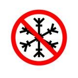 Διανυσματική απεικόνιση ενός απαγορευμένου σήματος με μια νιφάδα χιονιού Κόκκινο απαγορευτικό σημάδι Κανένα snowflake κανένα παγω απεικόνιση αποθεμάτων