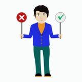 Διανυσματική απεικόνιση ενός ατόμου με τα σημάδια ναι και το αριθ. Στοκ φωτογραφία με δικαίωμα ελεύθερης χρήσης