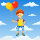 Διανυσματική απεικόνιση ενός ευτυχούς αγοριού με τα μπαλόνια στο νεφελώδη ουρανό Στοκ Φωτογραφίες