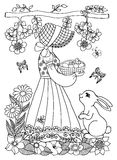 Διανυσματική απεικόνιση ενός κοριτσιού που κρατά ένα καλάθι με το νεοσσό και το λαγουδάκι που προσέχει την Η εργασία που γίνεται  Στοκ Φωτογραφία