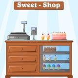 Διανυσματική απεικόνιση ενός μετρητή με τα γλυκά από τον πωλητή, με έναν κατάλογο μετρητών, ένα cashless τερματικό πληρωμής και έ απεικόνιση αποθεμάτων