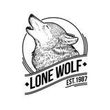 Διανυσματική απεικόνιση ενός ουρλιάζοντας λύκου Στοκ Φωτογραφίες