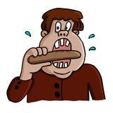 Διανυσματική απεικόνιση ενός παχιού ατόμου που τρώει το λουκάνικο Στοκ Εικόνα