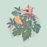 Διανυσματική απεικόνιση ενός πουλιού και των λουλουδιών Ελεύθερη απεικόνιση δικαιώματος