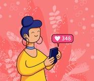 Διανυσματική απεικόνιση ενός τηλεφώνου κυττάρων εκμετάλλευσης γυναικών στοκ εικόνες με δικαίωμα ελεύθερης χρήσης