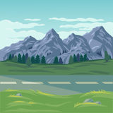 Διανυσματική απεικόνιση ενός τοπίου βουνών Στοκ Φωτογραφία