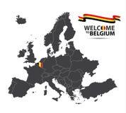 Διανυσματική απεικόνιση ενός χάρτη της Ευρώπης με την κατάσταση του Βελγίου Στοκ Εικόνα
