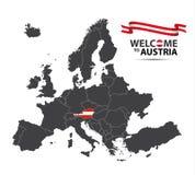 Διανυσματική απεικόνιση ενός χάρτη της Ευρώπης με την κατάσταση της Αυστρίας Στοκ φωτογραφία με δικαίωμα ελεύθερης χρήσης