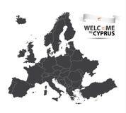 Διανυσματική απεικόνιση ενός χάρτη της Ευρώπης με την κατάσταση της Κύπρου Στοκ Εικόνες