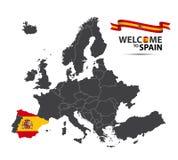 Διανυσματική απεικόνιση ενός χάρτη της Ευρώπης με την κατάσταση της Ισπανίας Στοκ Εικόνες
