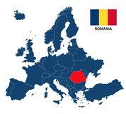 Διανυσματική απεικόνιση ενός χάρτη της Ευρώπης με την τονισμένη Ρουμανία διανυσματική απεικόνιση