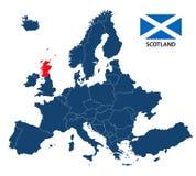 Διανυσματική απεικόνιση ενός χάρτη της Ευρώπης με την τονισμένη Σκωτία διανυσματική απεικόνιση