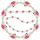 Διανυσματική απεικόνιση ενός floral πλαισίου με μορφή ενός κύκλου φιαγμένου από floral στοιχεία, φύλλα, οφθαλμοί στοκ εικόνα με δικαίωμα ελεύθερης χρήσης