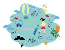 Διανυσματική απεικόνιση, επίπεδο σχέδιο ύφους Κορίτσι που αγαπά να ταξιδεψει, να ψάξει και να αγοράσει τα εισιτήρια μέσω του smar Διανυσματική απεικόνιση