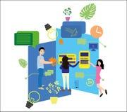 Διανυσματική απεικόνιση, επίπεδο ύφος Η έννοια της πρόσληψης των εργαζομένων για ιστοσελίδας, έμβλημα, παρουσίαση, κοινωνικά δίκτ Απεικόνιση αποθεμάτων