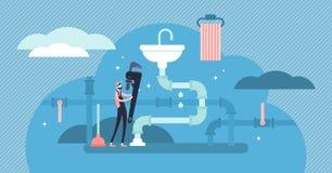 Διανυσματική απεικόνιση επαγγέλματος υδραυλικών Επίπεδη μικροσκοπική έννοια προσώπων επισκευής στοκ εικόνα με δικαίωμα ελεύθερης χρήσης
