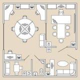 Διανυσματική απεικόνιση εσωτερικών, τοπ άποψης γραφείων σχεδίων αρχιτεκτονικής διανυσματική απεικόνιση