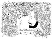 Διανυσματική απεικόνιση, ευχετήρια κάρτα, βαλεντίνοι, ερωτευμένο ζεύγος, άνδρας και γυναίκα στα λουλούδια Διανυσματικό σχέδιο της Στοκ Φωτογραφία