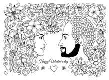 Διανυσματική απεικόνιση, ευχετήρια κάρτα, βαλεντίνοι, ερωτευμένο ζεύγος, άνδρας και γυναίκα στα λουλούδια Η εργασία που γίνεται μ Στοκ Εικόνα