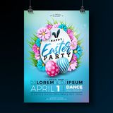 Διανυσματική απεικόνιση ιπτάμενων κόμματος Πάσχας με τα χρωματισμένα αυγά, τα λουλούδια και τα στοιχεία τυπογραφίας στο μπλε υπόβ Στοκ φωτογραφία με δικαίωμα ελεύθερης χρήσης