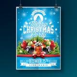 Διανυσματική απεικόνιση ιπτάμενων κόμματος Χαρούμενα Χριστούγεννας με τα στοιχεία τυπογραφίας και διακοπών στο μπλε υπόβαθρο πρόσ Στοκ εικόνα με δικαίωμα ελεύθερης χρήσης