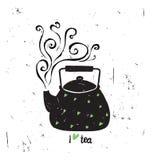 Διανυσματική απεικόνιση Ι τσάι αγάπης με την εγγραφή μαύρο δοχείο Στοκ Φωτογραφίες