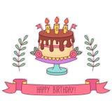 Διανυσματική απεικόνιση κέικ γενεθλίων doodle Στοκ Εικόνα