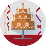 Διανυσματική απεικόνιση κέικ γενεθλίων στον κύκλο Στοκ Εικόνες